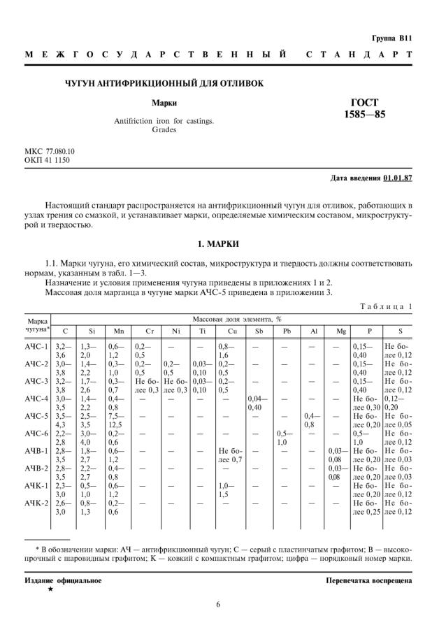ГОСТ 1585-85 Чугун антифрикционный для отливок. Марки